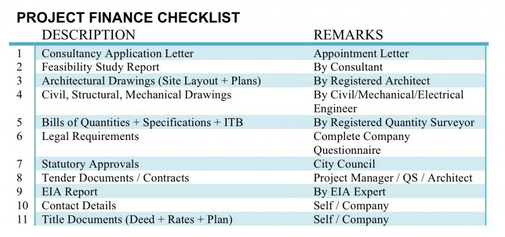 Project Finance Checklist.